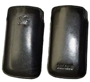 Suncase - Funda de cuero para LG P500 Optimus One, color  negro