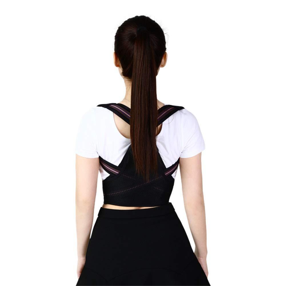 Corrector de postura Posture Corrector, Man Woman Physiotherapy Supplies Support Brace for Back Shoulder Neck Pain Relief Clavicle Ergonomic Design -Black (Color : Black, Size : S53-64cm)