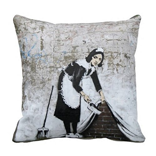 Reasonwe Custom Banksy Throw Square Pillow Case 18x18 Inches for put in Car Seat, Patio, Bedroom, Couch, (Throw Pillow Banksy)