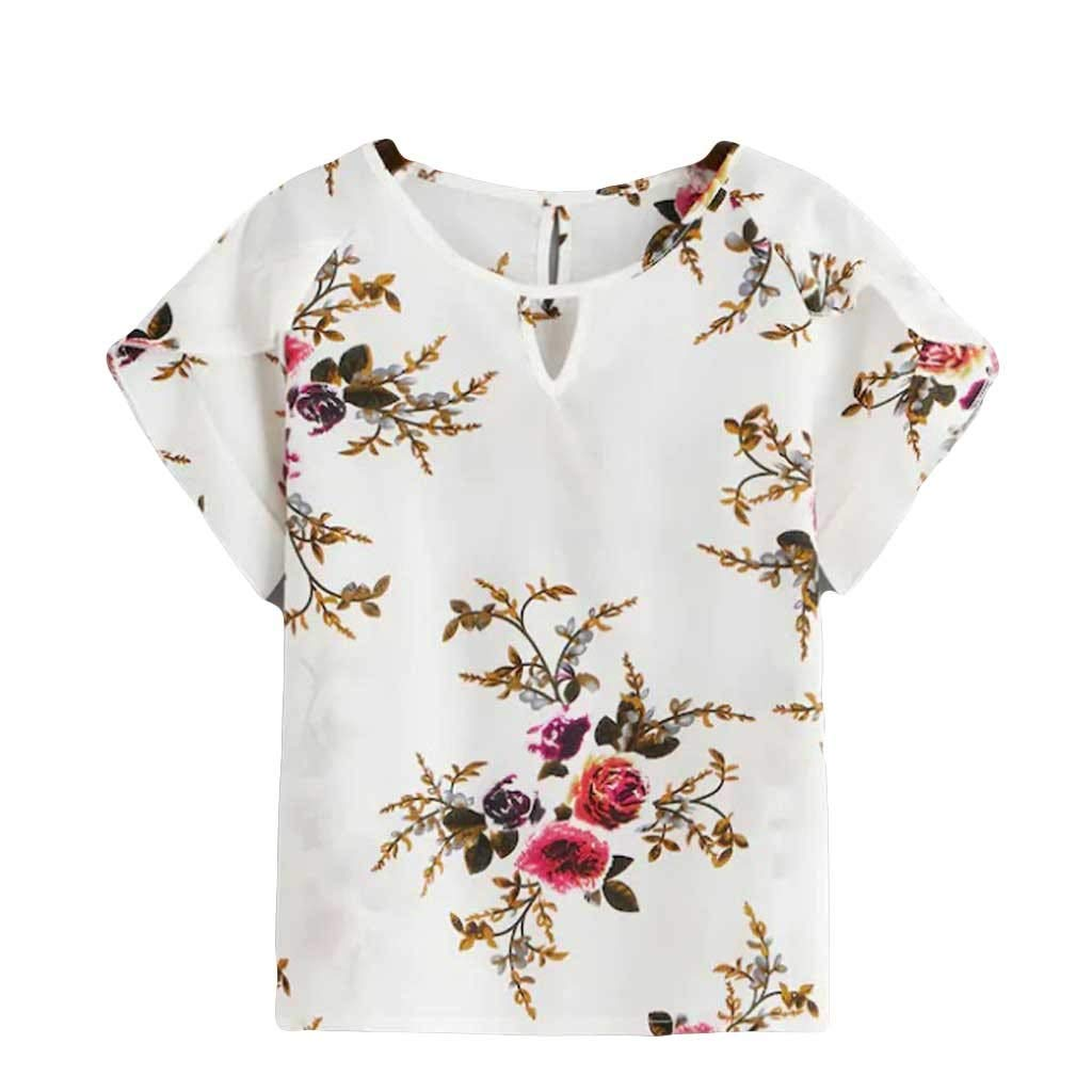 Fashion Womens Tops O-Neck Hollow Out Short Sleeve Print T Shirt Loose Blouse (L, White)