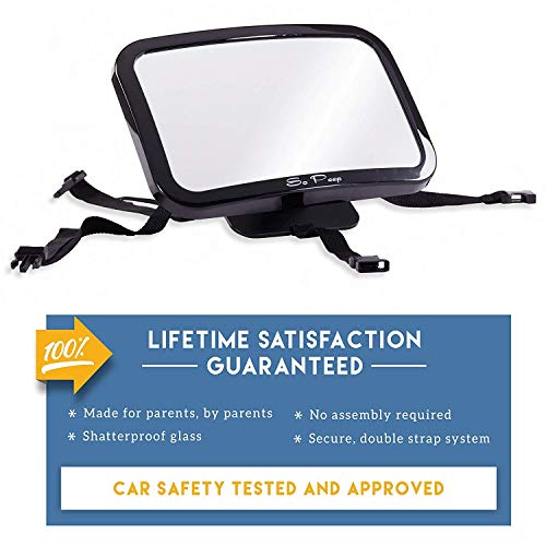 Baby Backseat Mirror for Car - View Infant in Rear Facing Car Seat - Newborn Safety with Secure Headrest Double-Strap - Essential Car Seat Accessories
