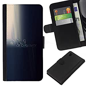 KLONGSHOP // Tirón de la caja Cartera de cuero con ranuras para tarjetas - NADA ES EN EL CAMINO DE LA CREATIVIDAD DE MOTIVACIÓN - Sony Xperia Z1 L39 //