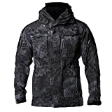 EDTara Men Jacket Casual Coat Wear-resistant Windproof Breathable Multifunctional Softshell Jackets Black Python M