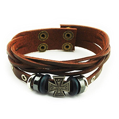 Real Spark Fashion Accessory Multilayer Brown Leather Cuff Beads Cross Badge Charm Wrap Bracelet