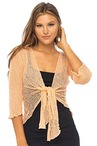 (Back From Bali Womens Lightweight Knit Cardigan Shrug Lite Sheer Peach)