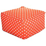 Majestic Home Goods Ikat Dot Ottoman, Large, Orange