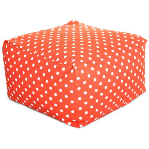 Majestic Home Goods Ikat Dot Ottoman, Large, Orange - Dot Patio Furniture