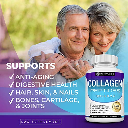 51rQptXlbCL - Multi Collagen Peptides Pills 1500 Mg - Type I, II, III, V, X Premium Natural Formula Healthy Skin & Hair, Strong Joint and Anti-Aging, Hydrolyzed Protein, for Men Women, 90 Capsules, Lux Supplement