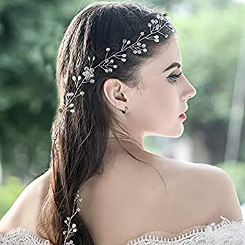 Beaded Headdress Wedding Gold Metal With Grey Beads Soft Tiara Boho Headband Jewelry & Watches