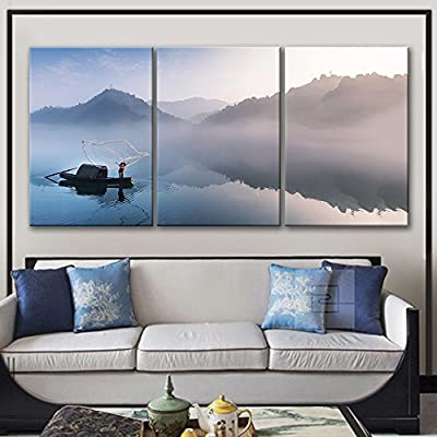 3 Panel Canvas Wall Art - Fisherman Casting a Net in a Boat on The Foggy River - Giclee Print Gallery Wrap Modern Home Art Ready to Hang - 16