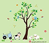 Farm Animal Wall Stickers - Country Animal Themed Baby Room - Kid's Room Wall Stickers - Baby Shower Gift - Baby Life - Baby Cute - Cow Decal - Sheep Decal - Owl Decal - Tree Decal - Tractor Decal