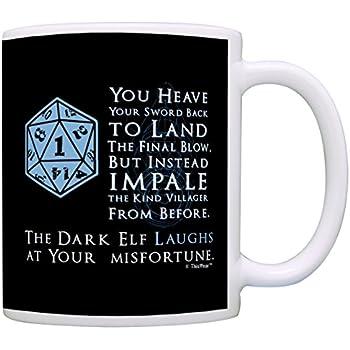 Gamer Mugs D20 Dice Roll Critical Fail Dark Elf Laughs Funny Gamer Gift  Coffee Mug Tea Cup Black