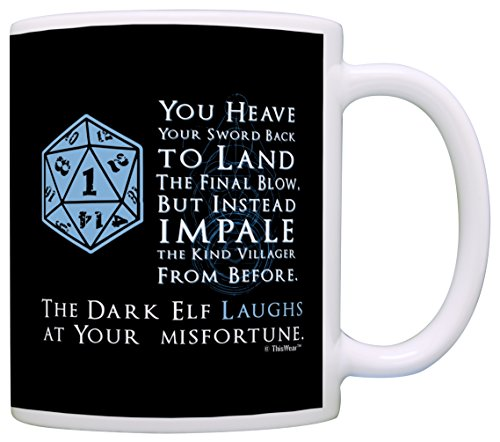 Dragon Art Dark T-shirt (Gamer Mugs D20 Dice Roll Critical Fail Dark Elf Laughs Funny Gamer Gift Coffee Mug Tea Cup)