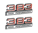 383 6.2L High Performance Engine Emblems in Chrome & Red - 4 Long Pair