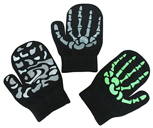 N'Ice Caps Toddler Boys and Infants Magic Stretch Mittens 3 Pairs Assortment (2-4 Years, Skeletons - Black/Neon Green/Camo)