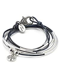 Girlfriend Wrap Bracelet Necklace w Silver Tree of Life Charm in Silver in True Blue Leather by Lizzy James