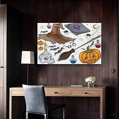 duommhome Halloween Abstract Painting Magic Spells Witch Craft Objects Doodle Style Illustration Grunge Design Skull Natural Art 35