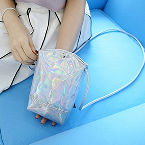 Pouch Bag Phone Drawstring Bag PU Cell Colorful Shoulder Laser Leather Crossbody Mini Holographic Orfila OPxq1wTT