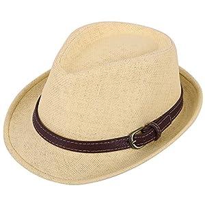 AbbyLexi Kids Straw Trillby Fedora Hat Short Brim Sunhat Panama Cap