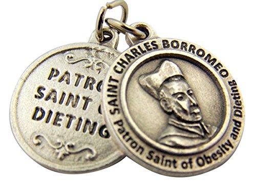 Saint Charles Borromeo Medals - Silver Toned Base Patron of Dieting Saint Charles Borromeo Medal, 3/4 Inch