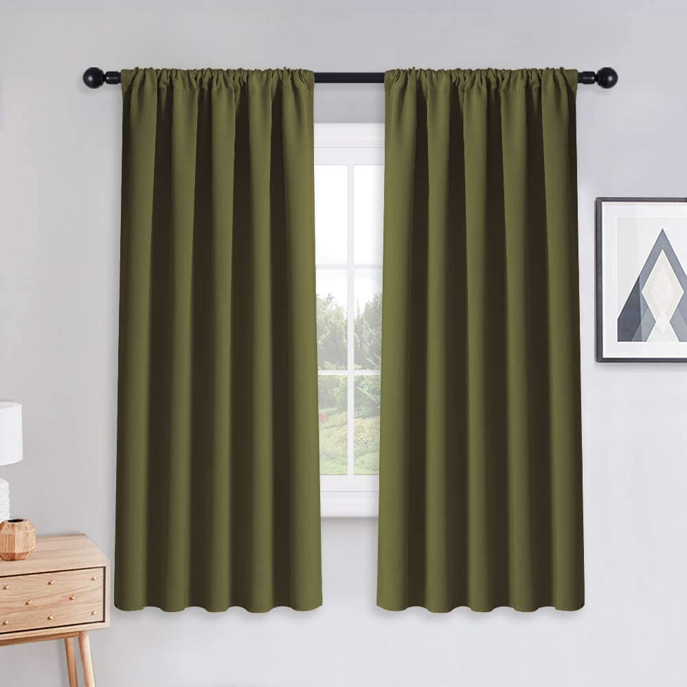 PONY DANCE Blackout Curtains & Drapes - Rod Pocket Black Out Window Curtain Home Decoration Thermal Curtain Xmas Decorative Drapes Privacy Protect, 52 by 63 inches, Olive Green, Set of 2