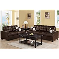 Upholstered in Espresso Bonded Leather Sofa and Loveseat Set by Poundex
