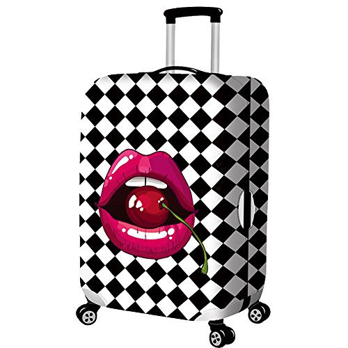 Travel Rolling Luggage Cover Cute 3D Luggage Protector Suitcase Cover (lattice lips, - Cute Luggage