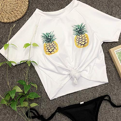 CHIDY Women's Pineapple Bikini Tops Padded Push Up Bra Swimwear Beach Bathing Suit Beachwear Two Piece Swimsuits White by CHIDY (Image #5)