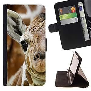 Dragon Case- Mappen-Kasten-Prima caja de la PU billetera de cuero con ranuras para tarjetas, efectivo Compartimiento desmontable y correa para la mu?eca FOR Samsung GALAXY ALPHA G850 SM-G850F G850Y G850M- Giraffe Cute Cartoon