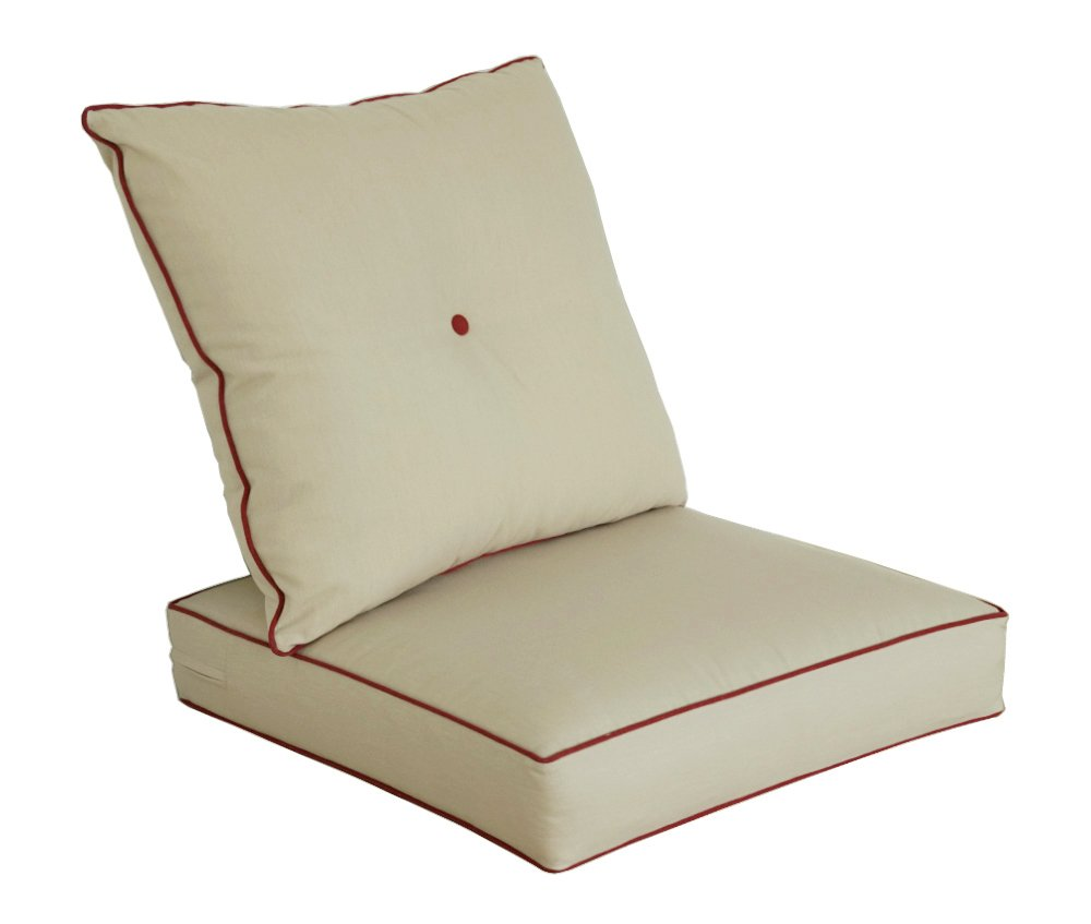 Bossima Indoor/Outdoor Light Khaki Deep Seat Chair Cushion Set