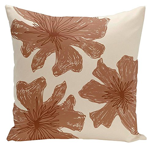 Floral Pillow with Sewn Closure (18 in. L x 18 in. W)