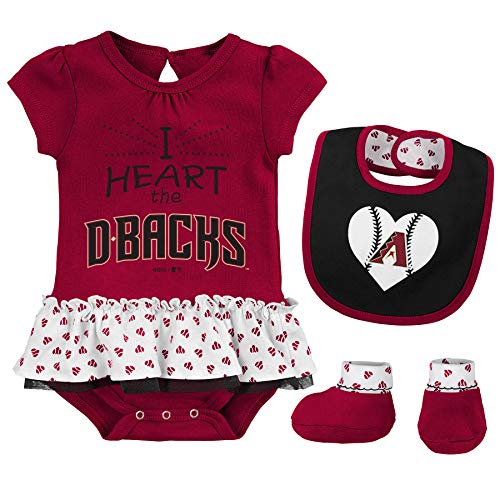 Outerstuff MLB Newborn & Infants Girls Baseball Girl Creeper, Bib, Bootie Set (0/3 Months, Arizona Diamondbacks)