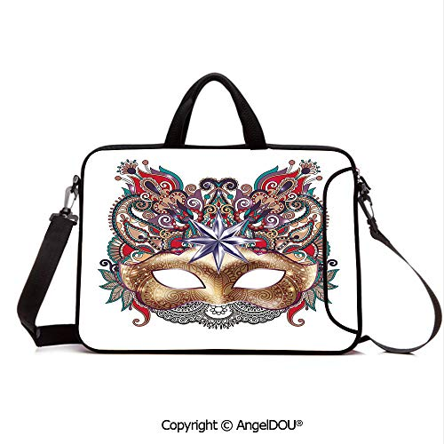 AngelDOU Laptop Sleeve Notebook Bag Case Messenger Shoulder Laptop Bag Venetian Carnival Mask Silhouette with Ornamental Elements Masquerade Costume De Compatible with MacBook HP Dell Lenovo Multico