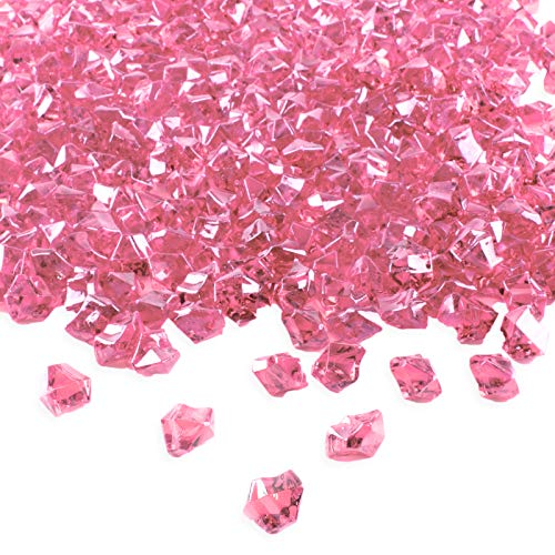 - Super Z Outlet Acrylic Color Ice Rock Crystals Treasure Gems for Table Scatters, Vase Fillers, Event, Wedding, Birthday Decoration Favor, Arts & Crafts (385 Pieces) (Pink)