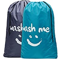 HOMEST 2 Pack Wash Me Travel Laundry Bag, 28 x 40 Inches Rip-Stop Nylon Heavy Duty Dirty Clothes Bag with Drawstring, Machine Washable, Anti-Odor, Light Blue and Grey