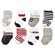 Luvable Friends Baby 8 Pack Newborn Socks, Boy Nautical, 0-6 Months