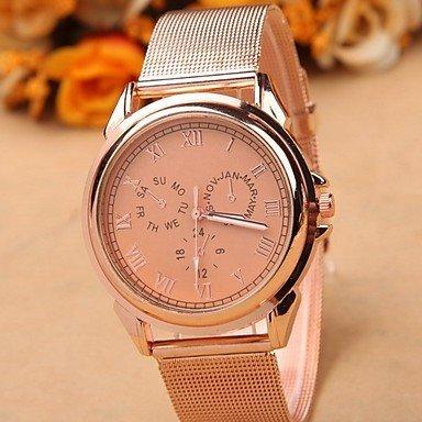 Tres relojes de Ginebra sin aleación falsos de forma de acero para perforación Rose Gold Talla:Pour homme: Amazon.es: Deportes y aire libre