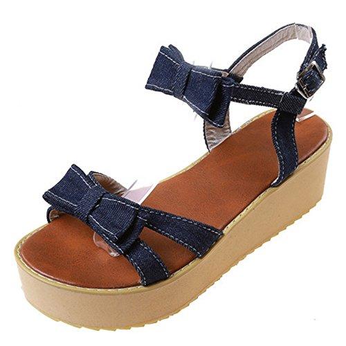 Coolcept Women Fashion Open Toe Sandals Shoes Straps Dark Blue