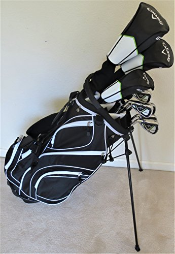 Callaway Mens Left Hand Golf Club Set Regular Flex Complete Driver, Fairway Wood, Hybrid, Irons, Putter, Stand Bag LH Lefty ()