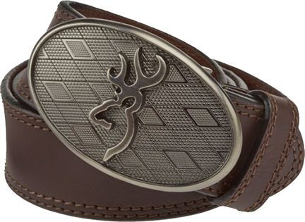 Browning Men's Oval Buckmark Belt Brown 34 (Mens Browning Brown Leather Belt)