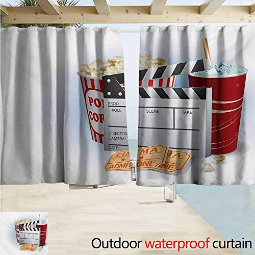 AndyTours Balcony Curtains,Movie Theater Soda Tickets Fresh Popcorn and Clapper Board Blockbuster Premiere Cinema,Rod Pocket Energy Efficient Thermal Insulated,W63x63L Inches,Multicolor