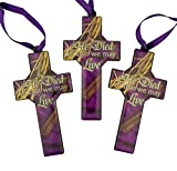 Crown of Thorns Epoxy Icon on Wood Cross Lenten Ornament, Pack of 3