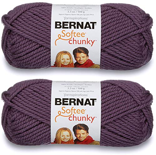 (2-Pack - Bernat Softee Chunky Yarn, Dark Mauve, Single Ball)