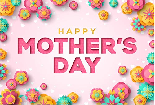Yeele 8x6ft Vinyl Photography Background Happy Mother's Day Celebration Paper Flowers Contrast Color Photo Backdrops Pictures Studio Props Wallpaper]()