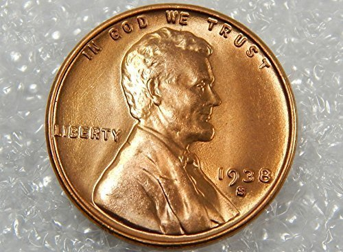 1938 S BU Uncirculated Lincoln Wheat Cent