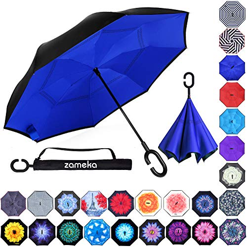 Zameka Double Layer Inverted Umbrellas Reverse Folding Umbrella Windproof UV Protection Big Straight Umbrella Inside Out Upside Down for Car Rain Outdoor with C-Shaped Handle ()