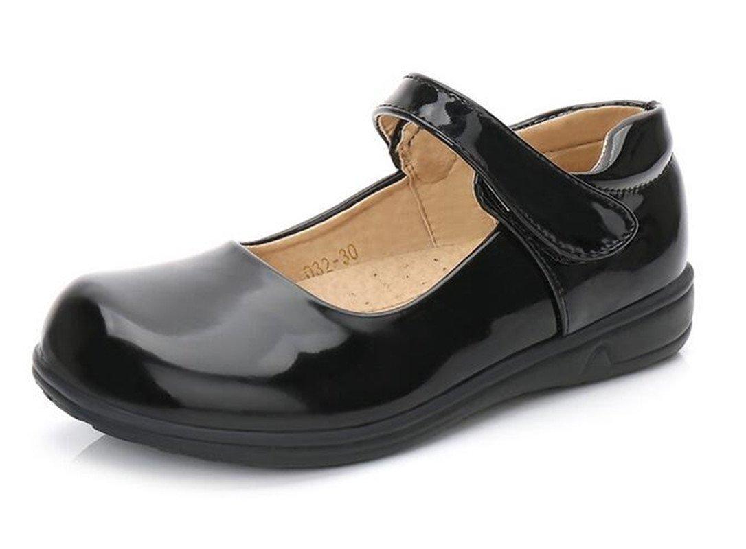 Bumud Kids Girl's Black Mary Jane School Uniform Flat Dress Shoe(Toddler/Little Kid) (12 M US Little Kid, Bright Black)