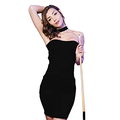9289f832fd8 Beauty Garden Women s Club Dress Stretchy Knit Choker Neck Sleeveless Sexy  Tube Top Dress