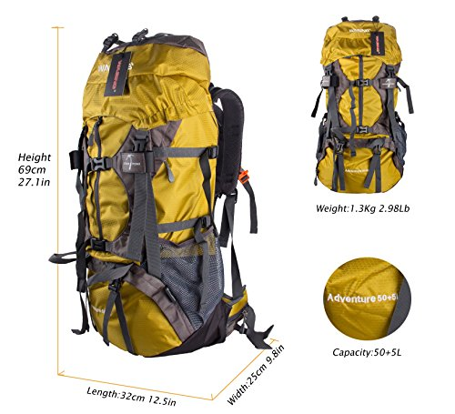 Mua WASING 55L Internal Frame Backpack Hiking Backpacking Packs for ... 8932782d16