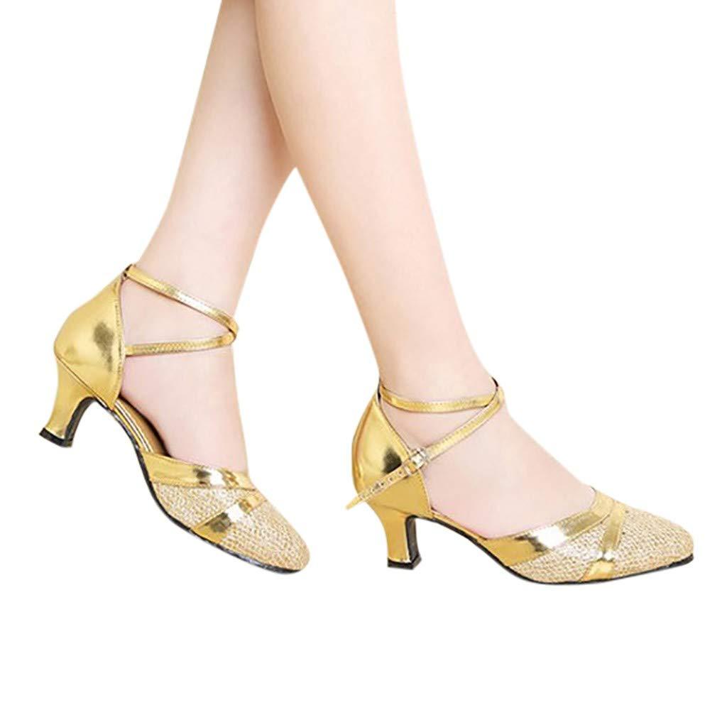 Jiayit Women's Latin Dance Shoes Tango Adult Latin Salsa Dancing Shoes Sequins Shoes High School with Soft Bottom Square Social Dance Shoes